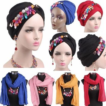 Multi-functional Women Scarf&Hat Beaded Headwrap Muslim Hat Islamic Hijab Cap Gem Turban Headwear Bohemian Style