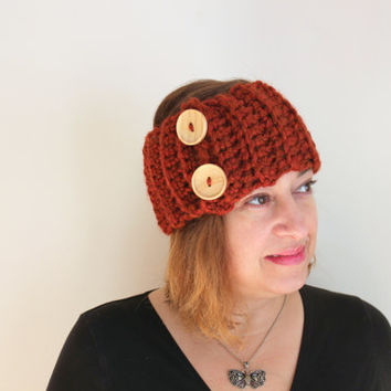 Crochet Headband With Buttons, Wood Buttons Headband, Red Headband, Chunky Headband, Women's Accessories