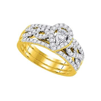 14kt Yellow Gold Women's Pear Diamond Entwined Bridal Wedding Engagement Ring Band Set 7/8 Cttw - FREE Shipping (US/CAN)