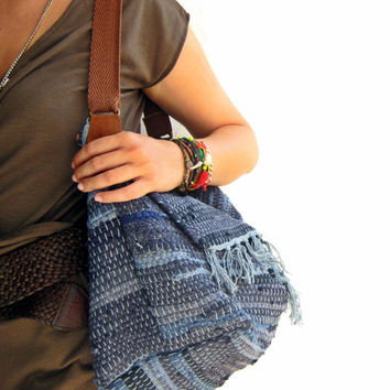 Ready to Ship Boho Shoulder Kilim Bag in Sea Blue - Large Fabric Shopping Bag - Fall Collection