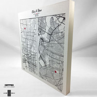Personalized Anniversary Gift - Custom Hand-Drawn Maps Canvas Print Mounted On 1 Inch Thick Modern Standout