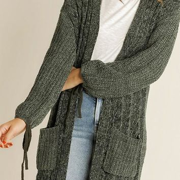 London Olive Chenille Cardigan