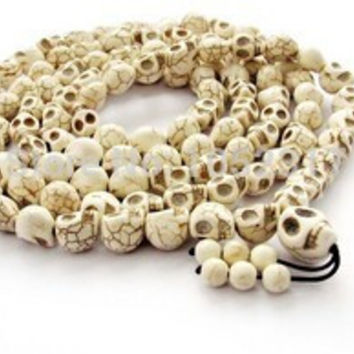 Classic Skull Head Bead Buddhist Buddha Meditation 108 Bead Prayer Bead Mala Bracelet/Necklace 10x12mm Bead 15 Colors