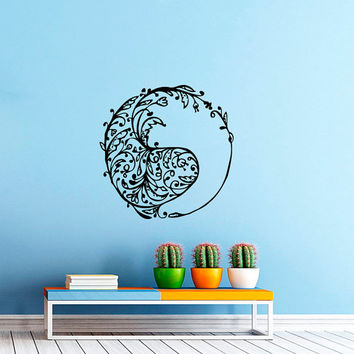 Wall Decal Vinyl Sticker Decals Art Home Decor Murals Yin Yang Symbol Floral Patterns Ornament Geometric Chinese Asian Religious Decal AN569
