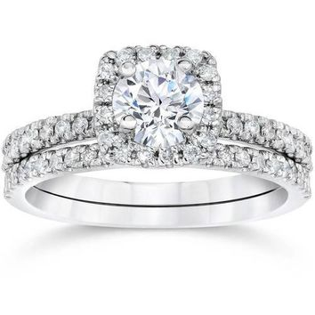 5/8 Carat Cushion Halo Diamond Engagement Wedding Ring Set