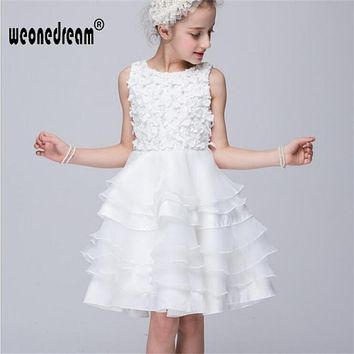 flower girl dresses white for weddings cake 2017 summer appoiques flower girl dress kids all white 2-10T birthday cake dresses