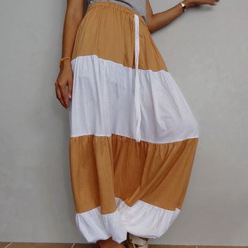 Women Ruffle Two Tone Long Pant, Casual Gypsy,Yoga,Drop Crotch Bohemian,Cotton Blend in Soft Tangerine & White (Pant-RM5).