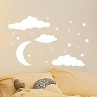 Stars Wall Decal Baby Nursery Wall Decal Nursery Vinyl Decal Moon Wall Decor Moon Stickers Decal Star Art Decor MN1038