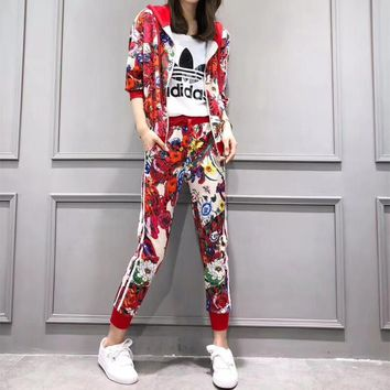 """Adidas"" Women Casual Fashion Sleeveless Letter Vest Flower Print Middle Sleeve Zip Cardigan Hooded Coat Trousers Set Three-Piece Sportswear"