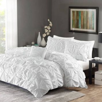 Better Homes and Gardens Pintuck Bedding Full/Queen Duvet Cover Grey Set (Full/Queen, White)