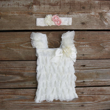 Newborn dress. Newborn ruffle dress, Baptism dress, Ivory lace baby dress. Newborn outfit. Baby dress. Infant girl dress