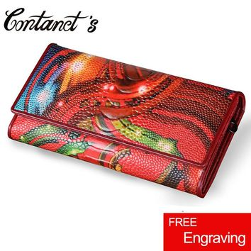 Women's Wallet Clutch Genuine Leather Ladies Party Purse Ostrich Print Design Long Cell Phone Wallet Fashion Female Coin Pocket
