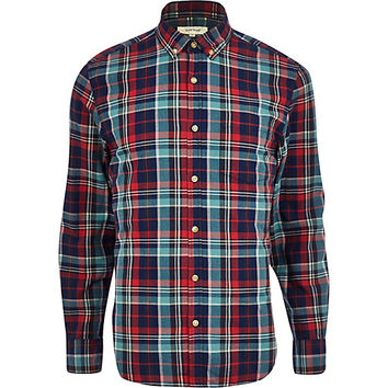 River Island MensDark blue check long sleeve shirt