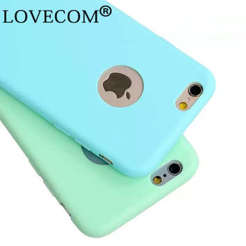 High Quality Hot Sale Candy Colors Soft TPU Phone Back Cases For Iphone SE 5 5S 6 6S 6Plus Coque with logo window Accessories