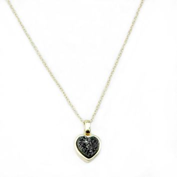 Heart Druzy Necklace in Gold