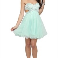 Dress with Cut Out Metallic Bodice and Mesh Skirt