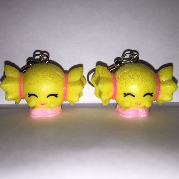 Shopkins Foodie Earrings - Mandy Candy [glitter] - made with repurposed toys