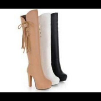 Women's Leather Heeled Boot Knee Height