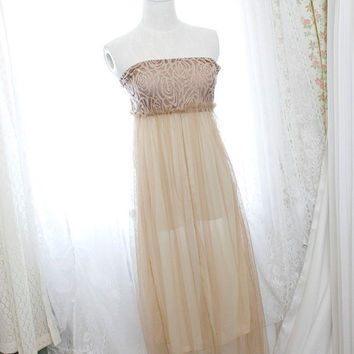 Goddess sheer lace beige maxi long dress strapless by miadressshop