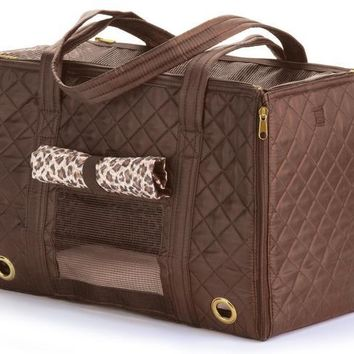 Sherpa Park Tote Pet Carrier Size: Medium Brown
