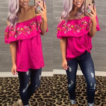 Raspberry Embroidered Off the Shoulder Top