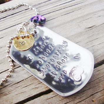 Photography chose me hand stamped dog tag necklace with heart