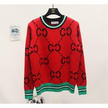 GUCCI Trending Women Casual GG Letter Print Long Sleeve Brief Paragraph Pullover Top Sweater Sweatshirt Red