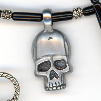 Skull Pendant with Black Beaded Necklace Smooth Molded by Lehane