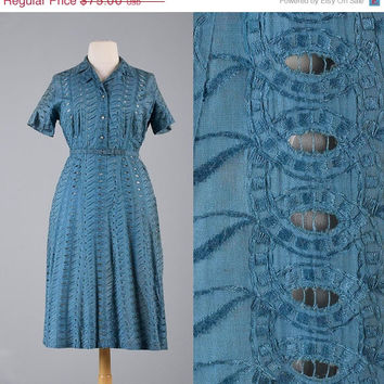 10% OFF Vintage 50s Blue Eyelet Dress Embroidery Short Sleeve Summer Sheer Rhinestone Buttons Plus Size XL Damaged Costume