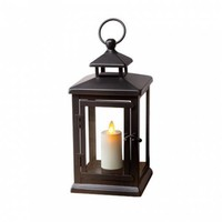"Luminara 11"" Black Hudson Lantern w/ Flameless Candle"