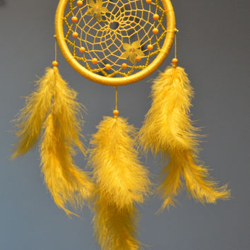Yellow Dream Catcher Dreamcatcher with Citrine gemstone beads, Baby Yellow Dreamcatcher, Sunny Dream Catcher, Nursery Decor, Wall Hanging