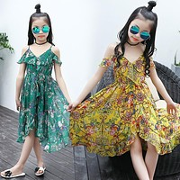Girls Dresses Summer 2017 New Flower Print Beach Chiffon Dress for Kids Girls Bohemian Dress Children Clothes Big Girls Clothing