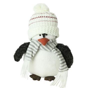 """7"""" Plush Christmas Penguin in Striped Scarf and White Beanie Hat"""