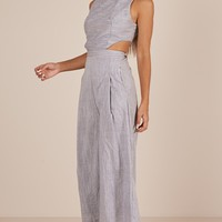 Out Dream Yourself jumpsuit in blue Linen Look Produced By SHOWPO