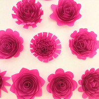 "Big Fuchsia paper flowers set of 10 large 3"" hot pink perennial garden flowers DIY bride bouquet Paper flower Wedding backdrop bridal decor"