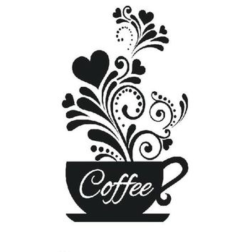 New Coffee Cup Wall Stickers for Kitchen