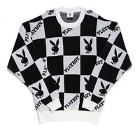 PLAYBOY CHECKERED KNIT CREW MEN / BLACK
