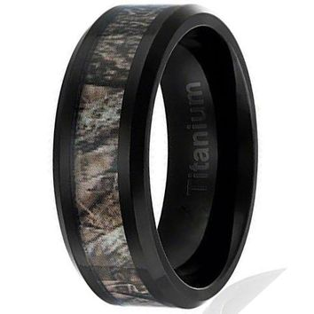 8MM  Titanium Hunting Ring Black Plated Wedding Band with Camouflage Inlay