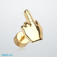 Golden Middle FU Finger Steel Fake Plug Earring
