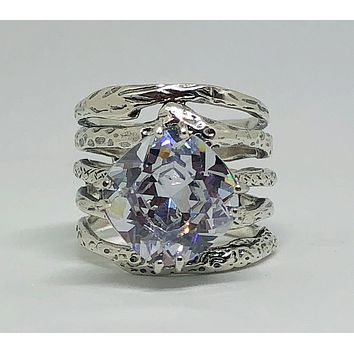 A Flawless Handmade Stacking 5.9CT Cushion Cut Lab Diamond Engagement Ring