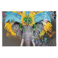"Geordanna Cordero-Fields ""My Elephant with Headdress"" Gray Rainbow Decorative Door Mat"