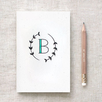 Unique Bridesmaid Gifts, Graduation Gifts - Monogram Journal & Pencil Set, Recycled - Hand Drawn Leaves, Choose Your Letter and Color