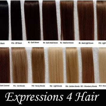 "Eight 2"" Pink Ombre Hair Extensions, 20-22"" Human Hair Extensions, Hair Clip, Hair Wefts, Clip in Hair, dip dyed hair"