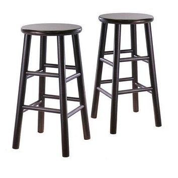 Set of 2 Backless 24-inch Bar Stools in Espresso Finish