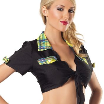 School Girls BW1016BY Black Top with Yellow Plaid Trim Costume - Be Wicked
