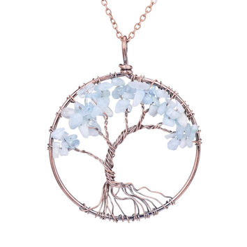 7 Chakra Tree Of Life Pendant Necklace Copper Rose Quartz Turquoise Crystal Natural Stone Necklace Women