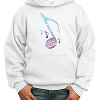 Music Note Typography Youth Hoodie Pullover Sweatshirt
