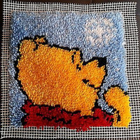 Winnie the Pooh Snowy Latch Hook Completed 12x12 in Rug Pillow Wall Hanging c213