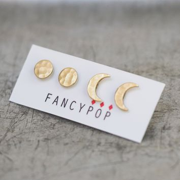 Full & Crescent Moon Stud Earring Set
