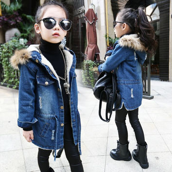 Sizes 4T - 14/ Girl's Denim Lined Jacket